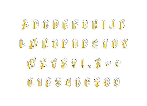 Isométricas letras, números e sinais com elementos amarelos em branco