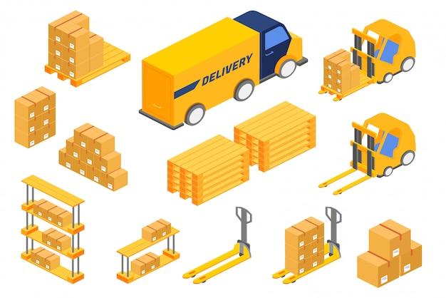 Isométricas várias caixas e veículos de carga para o serviço de entrega.