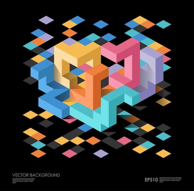Isométrico abstrato com figuras geométricas.