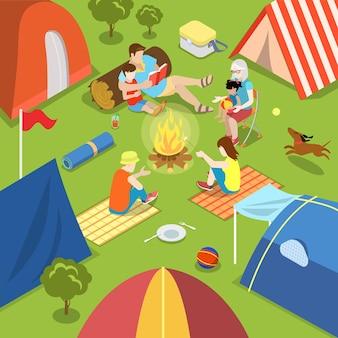 Isométrico acampamento ao ar livre, fogueira, piquenique, estilo de vida familiar, conceito de gasto de tempo