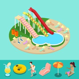Isométrico aqua park com escorregas de água e piscina. férias de verão. ilustração 3d plana vetorial