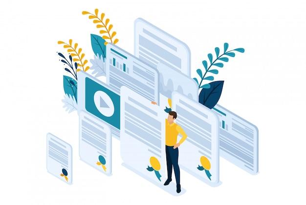 Isométrico bright site conceito de educação e treinamento é a chave para o sucesso. diplomas e conhecimentos. conceito de web design