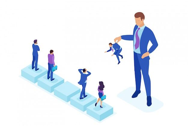Isométrico conceito brilhante mudar de pessoal, o grande chefe mantém o empregado o resto tem medo. conceito de web design