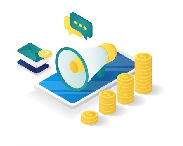 Isométrico da composição da estratégia de marketing digital