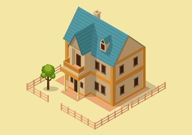 Isométrico de casa de estilo vitoriano.