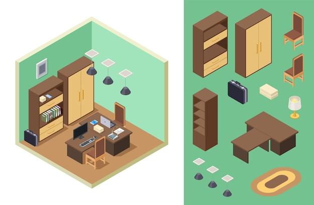 Isométrico de escritório em casa