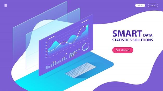 Isométrico de estatísticas de análise de dados inteligentes