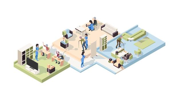 Isométrico de lar de idosos. personagens femininos e masculinos idosos estilo de vida cuidados de saúde profissional médico sênior ajudando