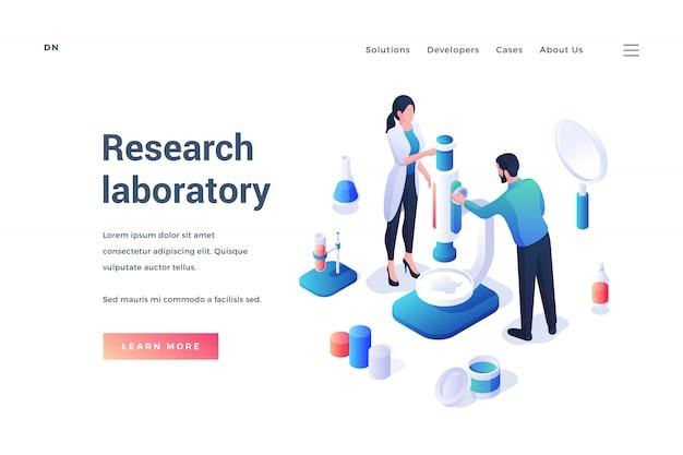 Isométrico de modelo sobre laboratório de pesquisa e trabalhadores