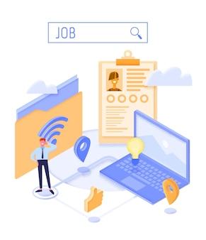Isométrico do conceito de agência de emprego. conceito de contratação e recrutamento para página web, banner, apresentação. procura de emprego.
