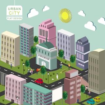 Isométrico do conceito de cidade urbana