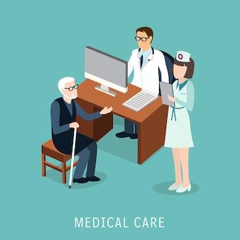 Isométrico do conceito de cuidados médicos