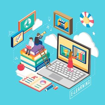 Isométrico do conceito de e-learning