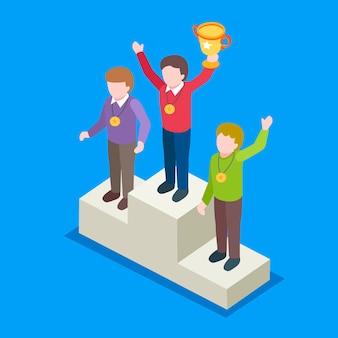 Isométrico do conceito de ganhar o campeão