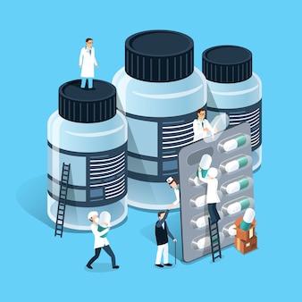 Isométrico do conceito de gestão de medicamentos