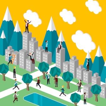 Isométrico do conceito de vida na cidade