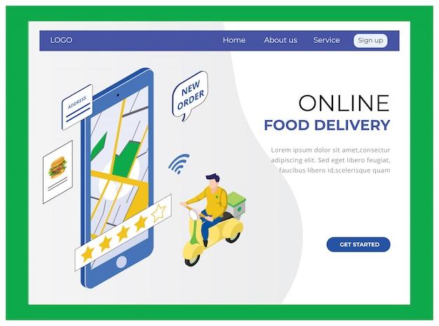 Isométrico do site online de entrega de alimentos