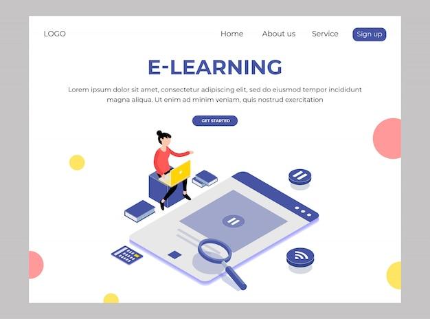 Isométrico do webtemplate de e-learning