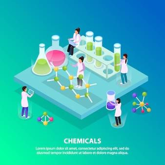 Isométrico e plano de fundo de produtos químicos com cinco pessoas trabalham no laboratório