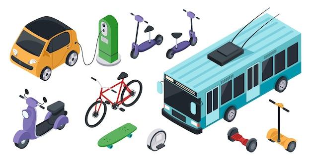 Isométrico eco amigável transporte veículos elétricos bicicleta scooter carro monociclo conjunto de vetores