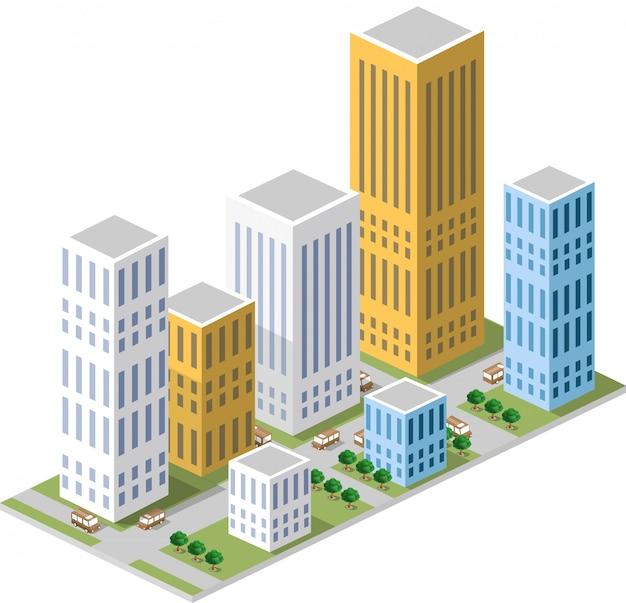 Isométrico em uma cidade grande com ruas, arranha-céus, carros e árvores