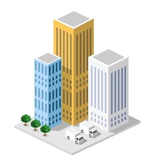 Isométrico em uma cidade grande com ruas, arranha-céus, carros