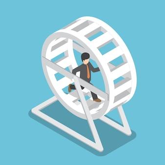 Isométrico empresário de terno correndo em uma roda de hamster