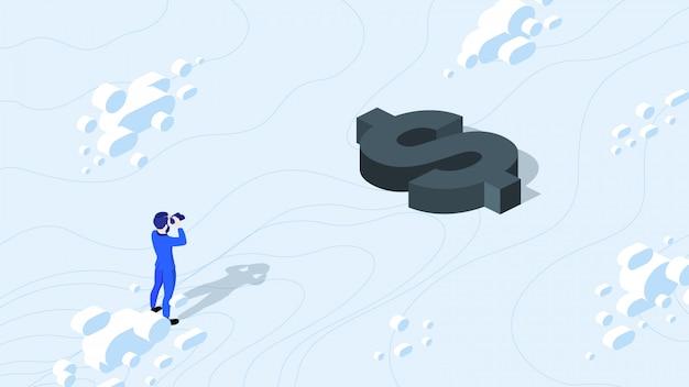 Isométrico empresário procurando dinheiro com binóculo.