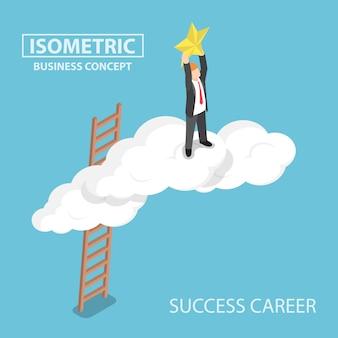 Isométrico empresário subindo sobre a nuvem e alcançando as mãos para a estrela