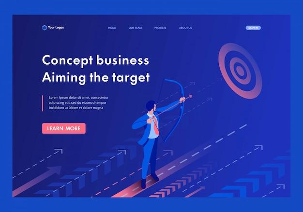 Isométrico empresário visando o alvo, conceito do negócio