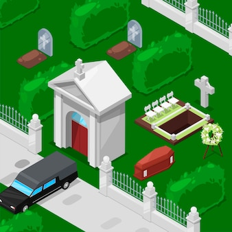 Isométrico funeral e cemitério isométrico
