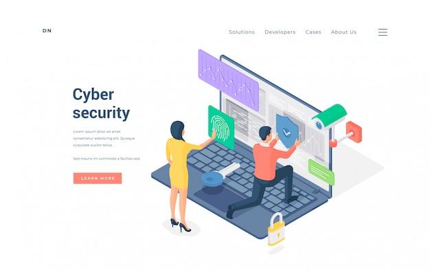 Isométrico, homem e mulher, enviando impressão digital digitalizar homem colocando escudo de proteção em dados de ilustração de laptop