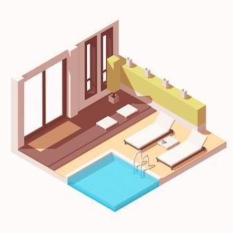 Isométrico hotel resort piscina ao ar livre salão cutaway ícone