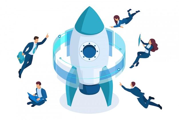 Isométrico iniciar um projeto de negócios, empresários ao redor do foguete, trabalhando em uma tela virtual.