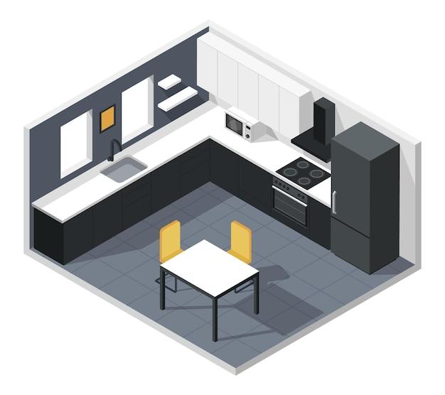 Isométrico interior moderno da cozinha com móveis, eletrodomésticos, geladeira, microondas, mesa, cadeira