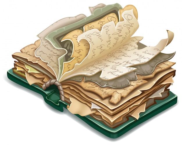 Isométrico livro antigo de feitiços e bruxaria