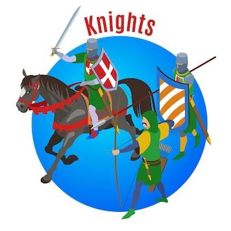 Isométrico medieval com cavalo de composição redondo e três personagens humanos de guerreiros do frio com ilustração de texto