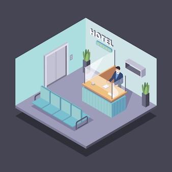 Isométrico novo normal em hotéis