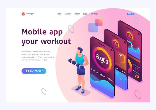Isométrico o aplicativo móvel rastreia o treinamento de uma pessoa. treinamento atlético, musculação.