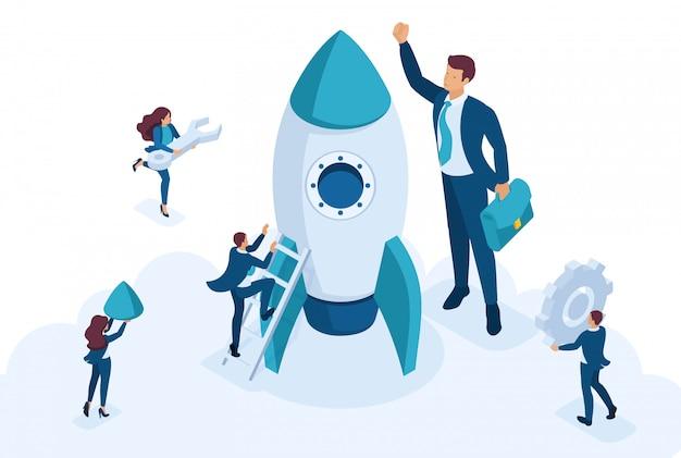 Isométrico o desenvolvimento de conceito e negócios de inicialização. empresários criam um foguete. conceito de web design