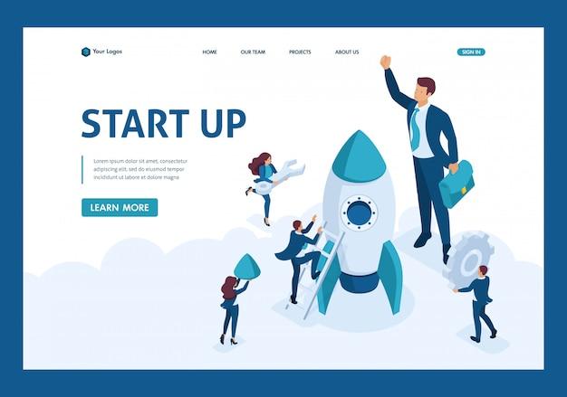 Isométrico o desenvolvimento do conceito e negócios de inicialização. empresários criam um foguete. página de destino do modelo de site