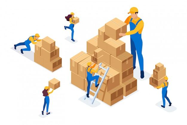 Isométrico o trabalho dos motores no armazém, colocando caixas, coletando mercadorias.