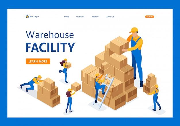 Isométrico o trabalho dos transportadores no armazém, colocando caixas, coletando mercadorias landing page