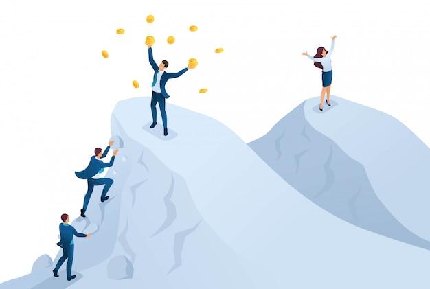 Isométrico para alcançar o sucesso, alcançar a meta, estar no topo da montanha.