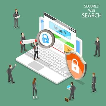 Isométrico plano da pesquisa segura na web Vetor Premium