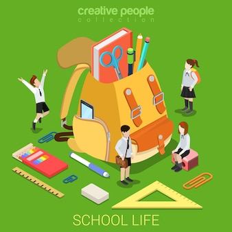 Isométrico plano da vida escolar