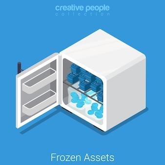 Isométrico plano de ativos congelados