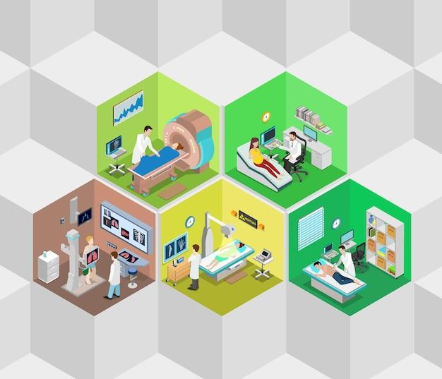 Isométrico plano de células de diagnóstico do interior do hospital