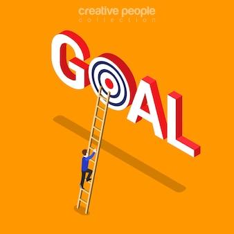 Isométrico plano de realização de meta