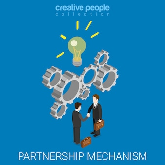 Isométrico plano do mecanismo de ideia de parceria